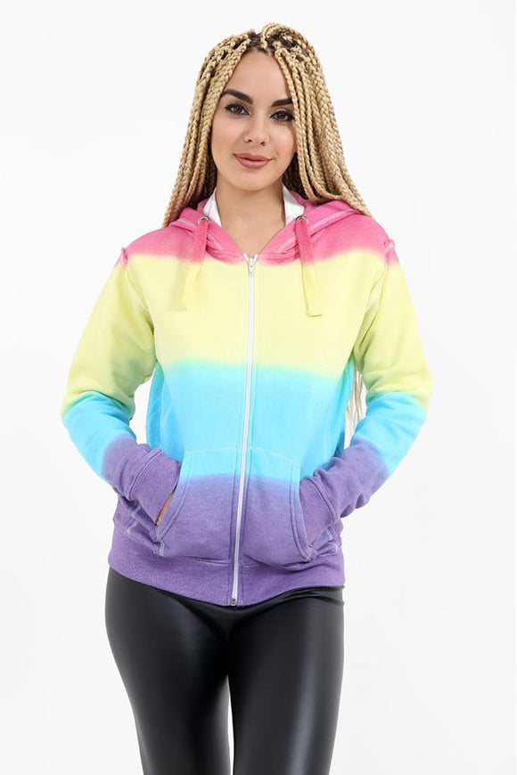 Women Ladies Long Sleeve Rainbow Print Huddie  Zipper