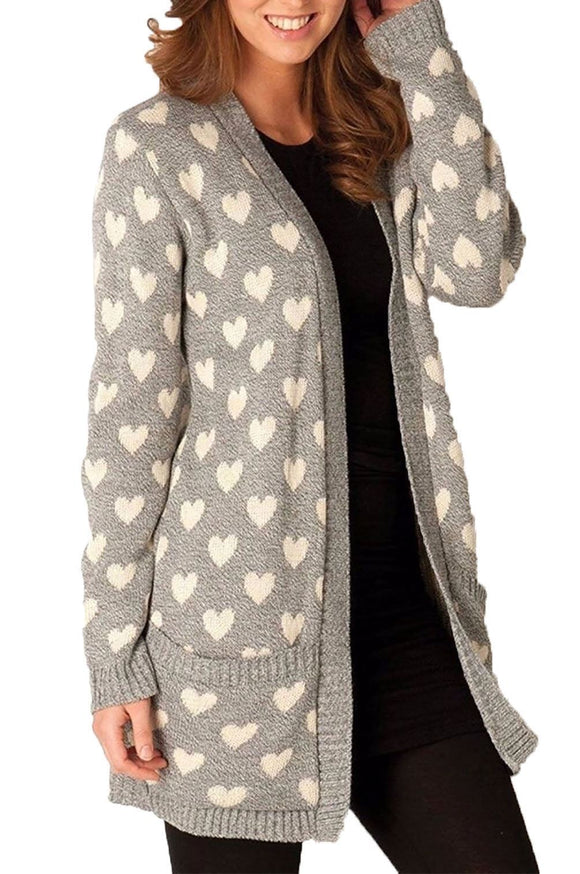 Women's Ladies Knitted Front Open Cardigan With Pockets Winter Boyfriend Sweater