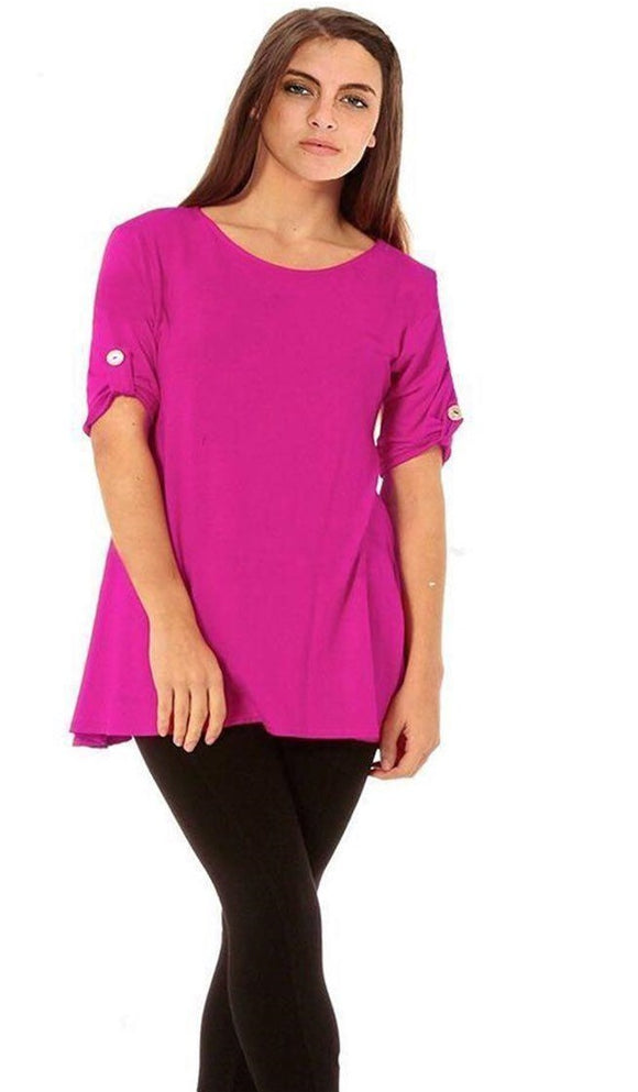 New Women's Button Detail Turn Up Sleeve Swing Top