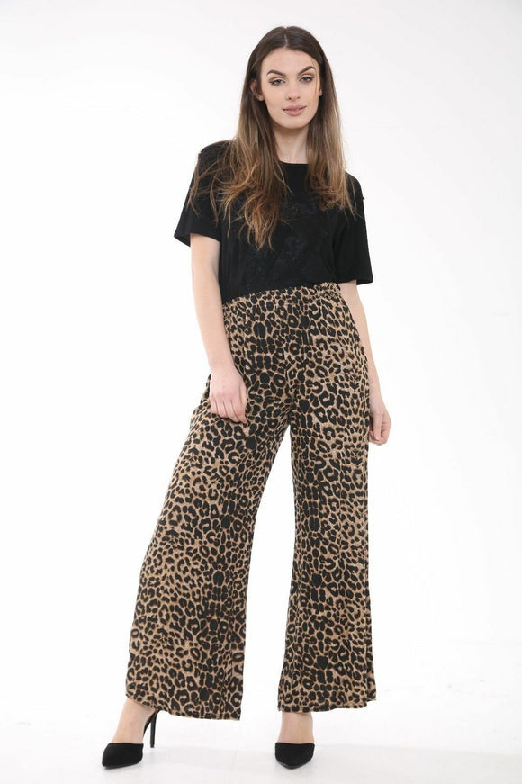 Womens Palazzo Trousers Ladies Brown Leopard Print Wide Leg Palazzo Trousers Pants