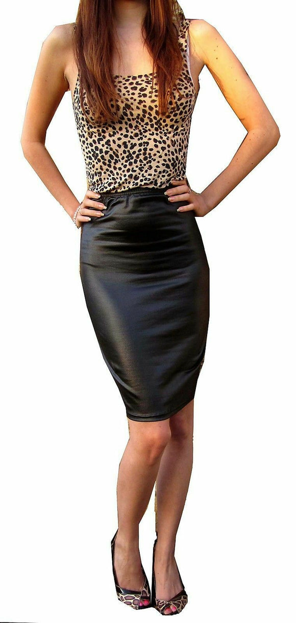 Womens Wet Look Bodycon Faux Leather Midi Pencil Skirt