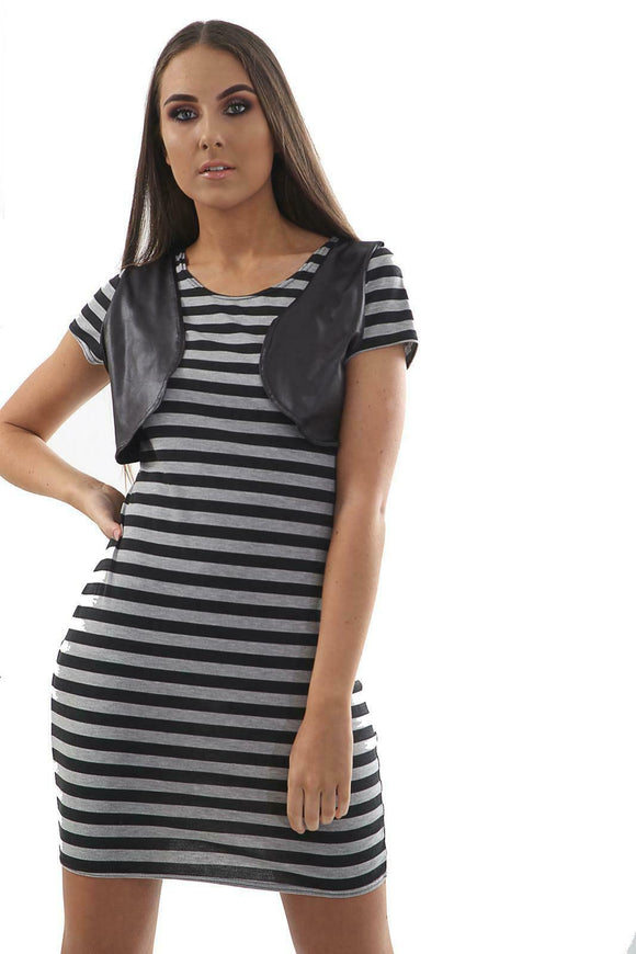 Striped Blouse Wet Look Panel Dresses