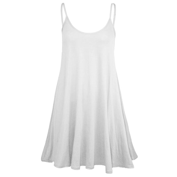 Womens Sleeveless Camisole Swing Dress Floaty Flare Strappy Skater Long Top