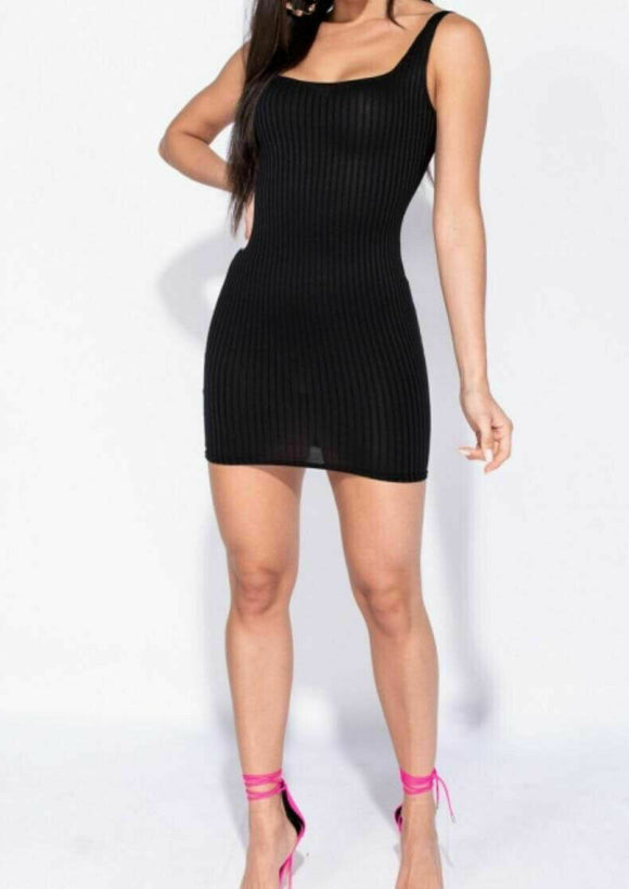 Women's Ladies Square Neck Ribbed Bodycon Mini Dress