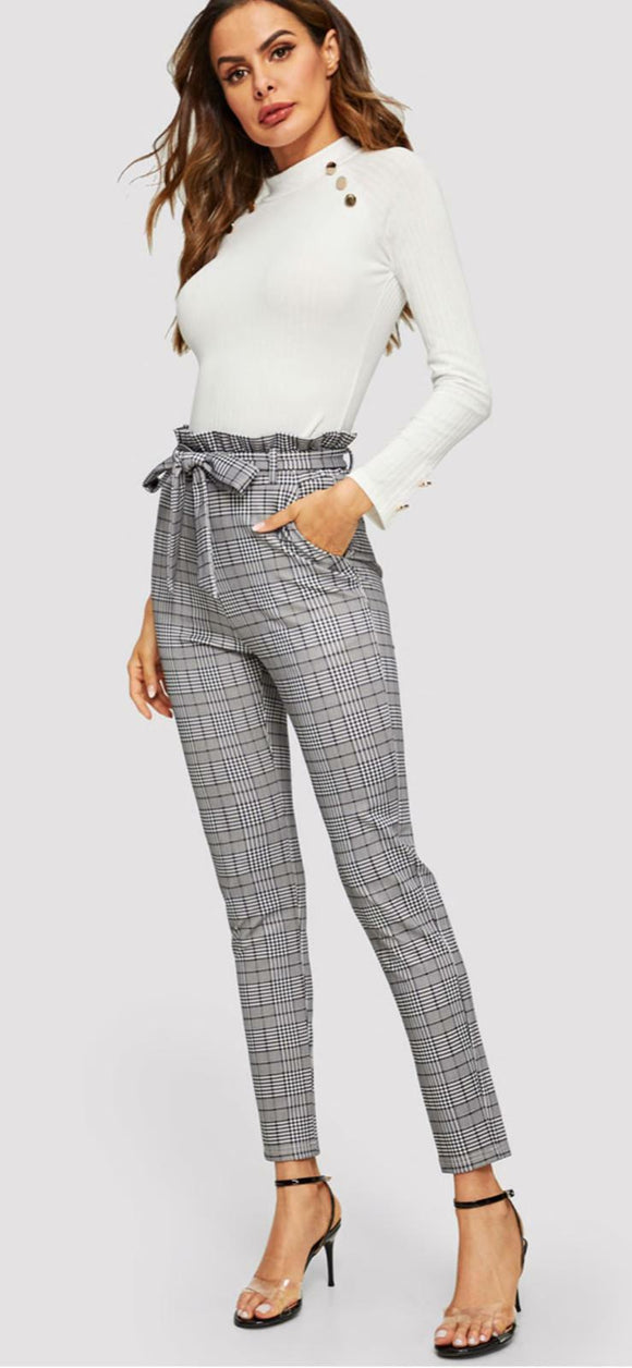 Women Check Hounds Tooth Print Ladies High Tie Waist Paper Bag Cigarette Trouser