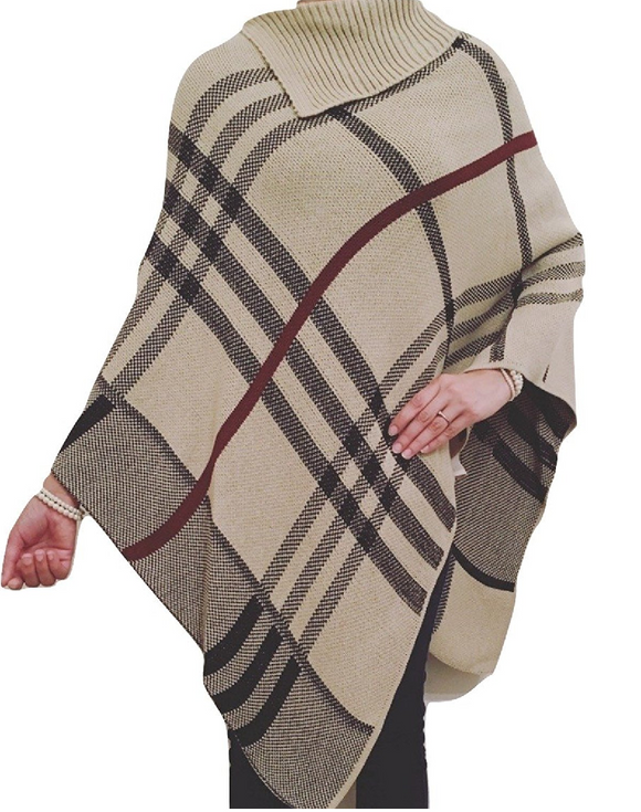 Womens Ladies Poncho Tartan Check Knitted Cape Warm Winter Shawl Jumper Cardigan