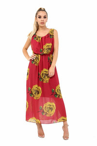 Women's Ladies Shaphone Summer Sleeveless Floral Print Balloons Long Maxi
