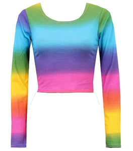 Womens Ladies Rainbow Stripe Print Multi Color Long Sleeve Jersey Crop Top