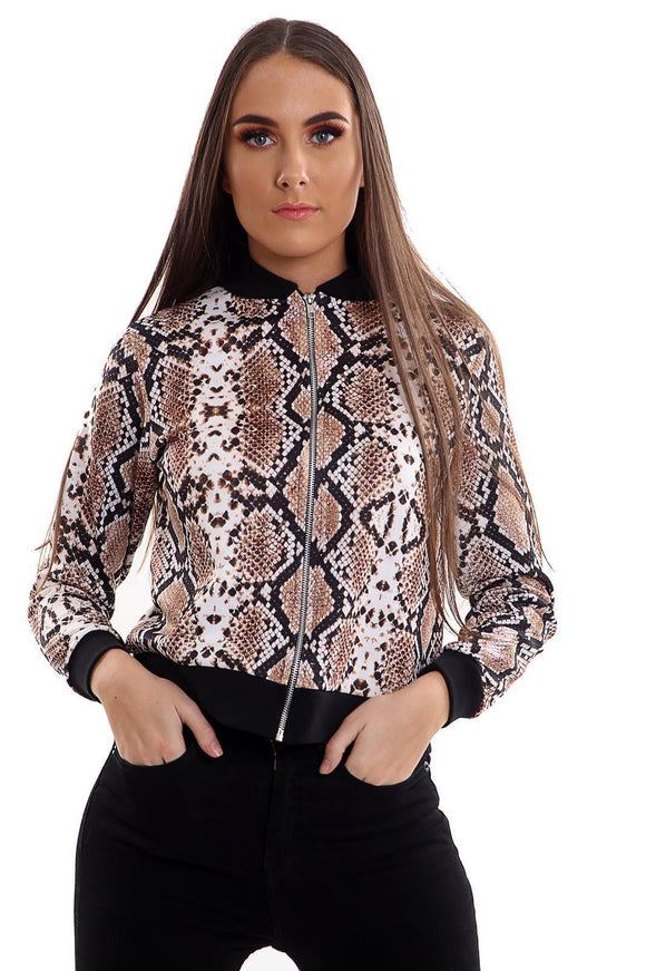 Women's SNAKE PRINT ZIP Biker Bomber Jacket Blazer uk seller