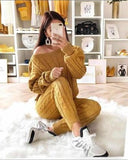 New Womens Ladies Cable Knit Knitted Warm 2pc loungewear set Casual Comfy