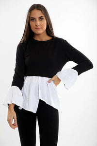 Womens Ladies Bell Sleeve Slit High Low Contrast Jumper Shirt Top Sweater Blouse