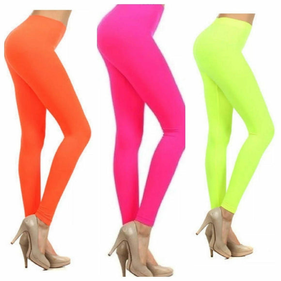 Women's Ladies Bright Neon Colour Leggings Stretch Plain Gym Legging Dance Pants