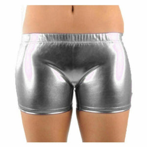 Women Ladies Metallic PVC Shiny Wet Look Disco Shorts Gym Dance Hot Pants Yoga