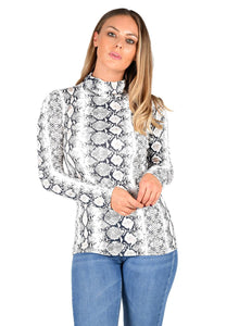 Womens Snake Print Long Sleeve Ladies Turtle Polo Neck Top