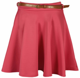 Womens Plain Skater Flared Ladies Belted Frankie Mini Short Stretch Party Skirt