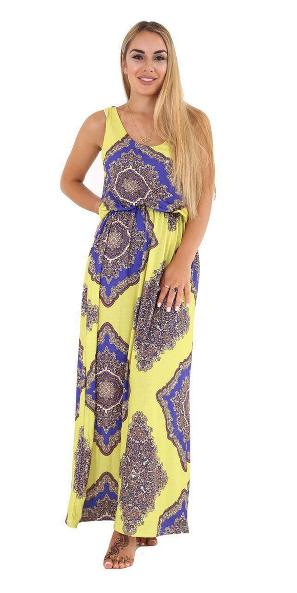Women Printed Toga Bubble Racer Twist Back Maxi Dress Plus Size
