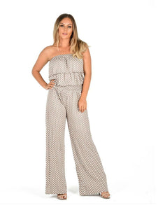 Womens Ladies Polka Dot Off Shoulder Frill Top Bandeau Wide Palazzo Leg Jumpsuit