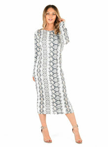 Womens Ladies Long Sleeve Snake Skin Print Bodycon Midi Dress