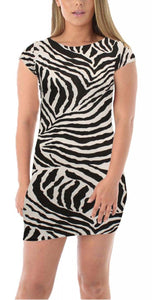 Womens Ladies Stretch Cap Sleeve Printed Body Con Mini Dress