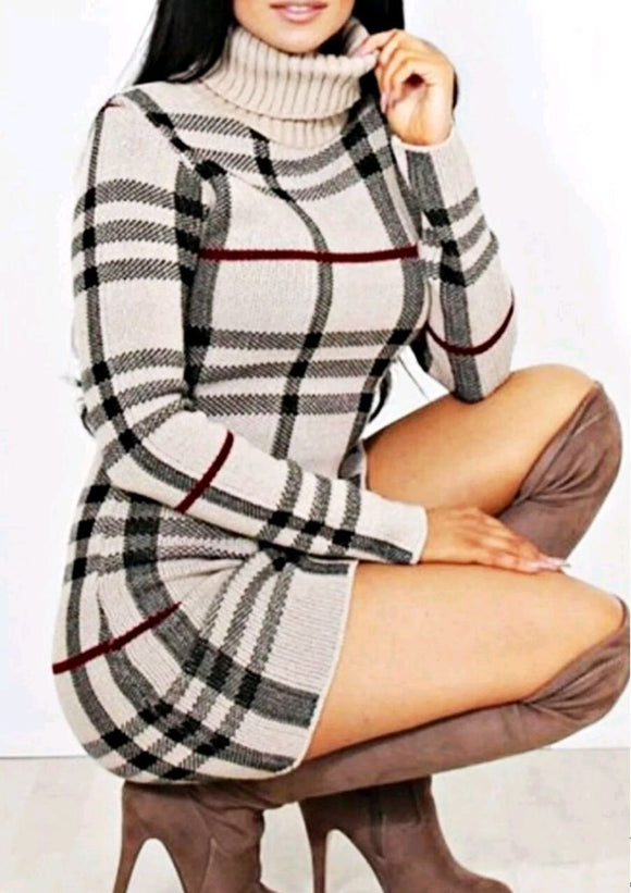 Womens Ladies Polo High Neck Check Print Knitted Short Mini Jumper Dress