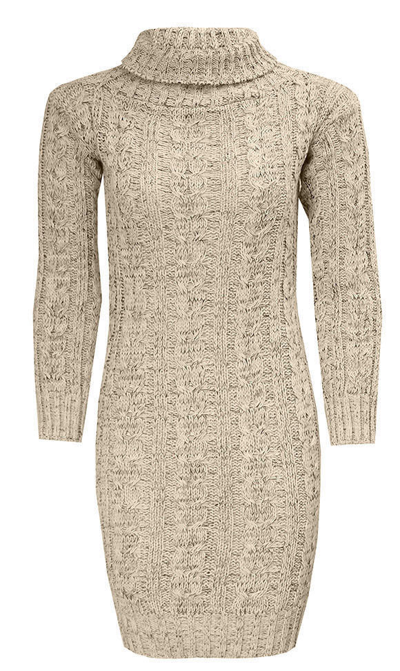 Women Cowl Neck Knitted Pullover Mini Dress For Ladies