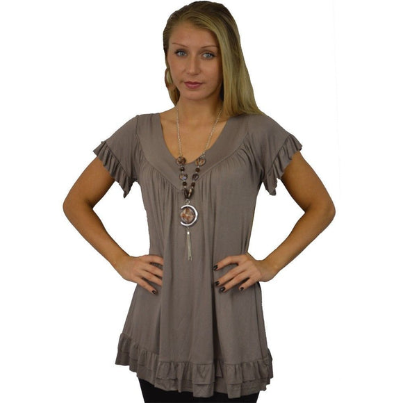 Womens Frill Necklace Gypsy Ladies Tunic V Neck Summer Tops Plus Sizes