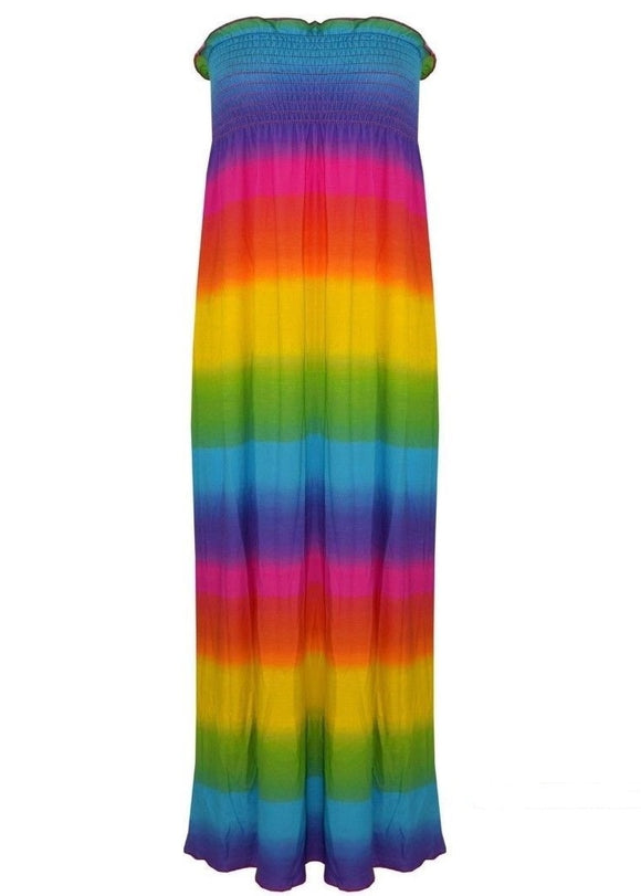 Womens Rainbow Printed Boobtube Bandeau Sheering Ladies Long Maxi Dress