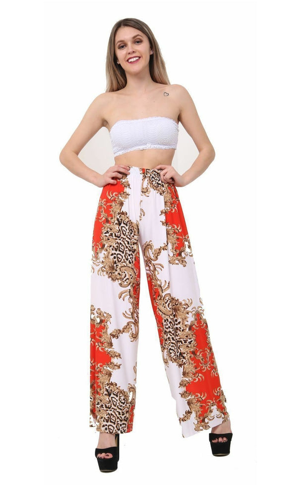 Womens Palazzo Trousers Ladies Red Parsley Print Wide Leg Palazzo Trousers Pants