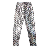 Women Mermaid Fish Scale Print Slim Fit Shiny Disco Metallic Leggings Pants