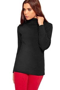 Womens Knitted Polo Jumper Ladies Long Sleeve Ribbed High Roll Neck Top royal