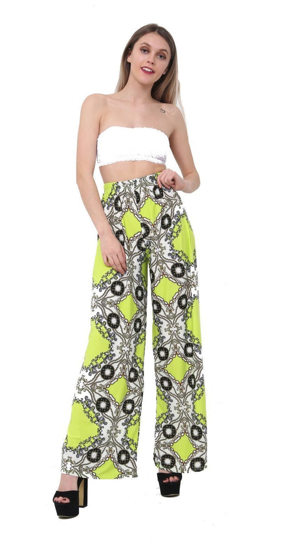 Womens Palazzo Trousers Ladies Black Floral Print Wide Leg Palazzo Trousers Pants