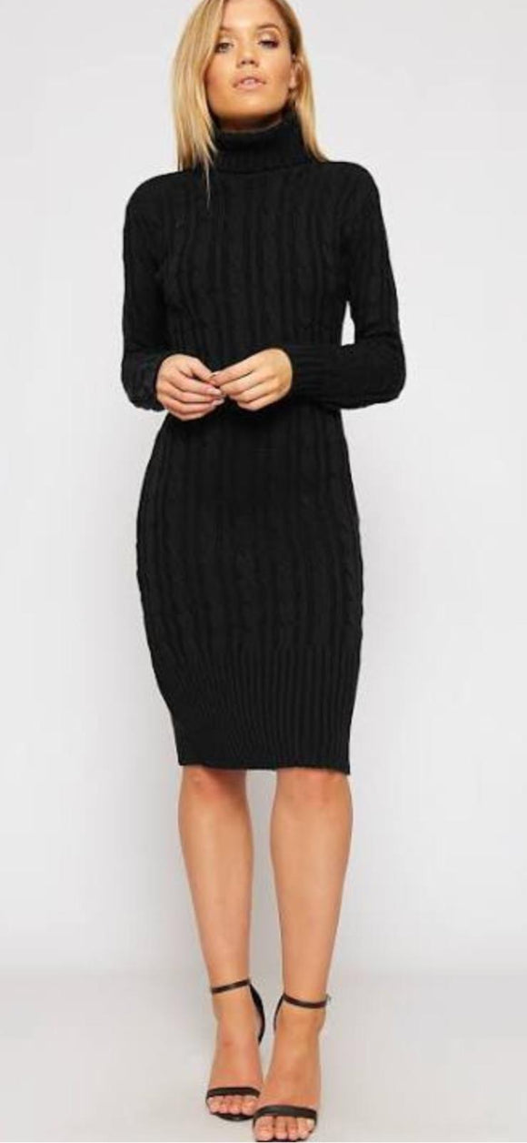 Women Ladies Cowl Polo High Neck Cable Knitted Maxi Midi Dress Jumper black