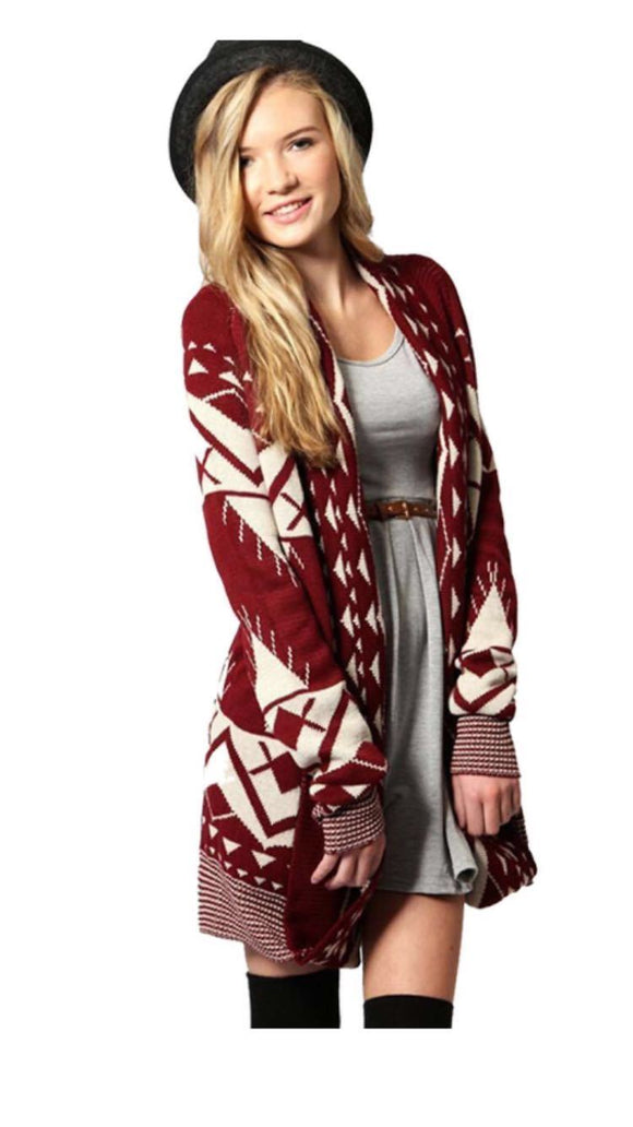 Women Ladies Aztec Printed Open Knitted Cardigan Long Sleeve Jumper