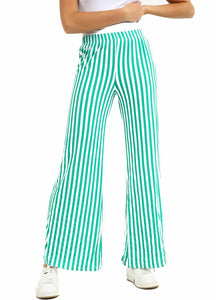 New Womens Ladies Loose Stretched Wide Leg Striped Plazo Trousers