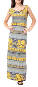 Womens Tropical Paisley Floral Print Racer Back Maxi Ladies Sleeveless Dress