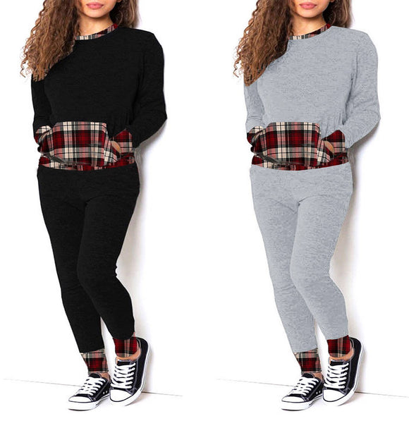 New Women Ladies Tartan Contrast Tracksuit Jogger Lounge Wear Suit Set