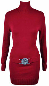 Womens Knitted Polo Neck Buckle Belted Long Sleeve Ladies Top Dress Jumper