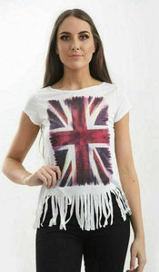 Womens Distressed UK Flag Union Jack Print Top Cap Sleeve T-Shirt