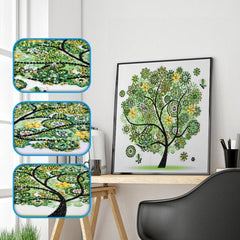 Green Embellished Tree Gemstone - Diamond Painting Kit