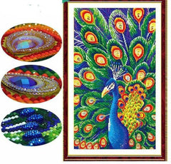 Embellished Peacock Gemstone - Diamond Painting Kit