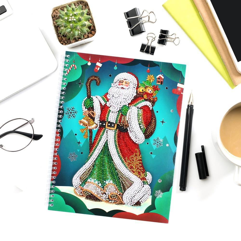 Santa with Gifts - Diamond Painting A5 Notebook