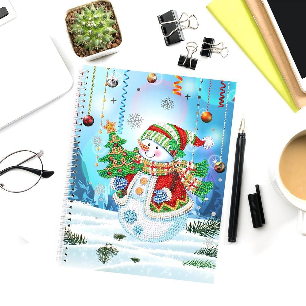Snowman with Christmas Tree - Diamond Painting A5 Notebook