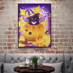 Cat in Pumpkin Gemstone - Diamond Painting Kit