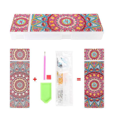 Red Mandala - Diamond Painting Pencil Case