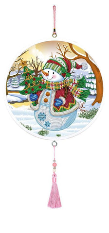 Christmas Snowman - Diamond Painting Decorative Plate