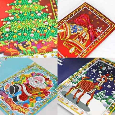 Set of 4 Christmas Greeting Cards Pack C - Diamond Painting Kit
