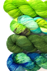 PREORDER - 4 Skein Color Set - Pea Soup, Bright Side, Grass Stained, Far Far Away