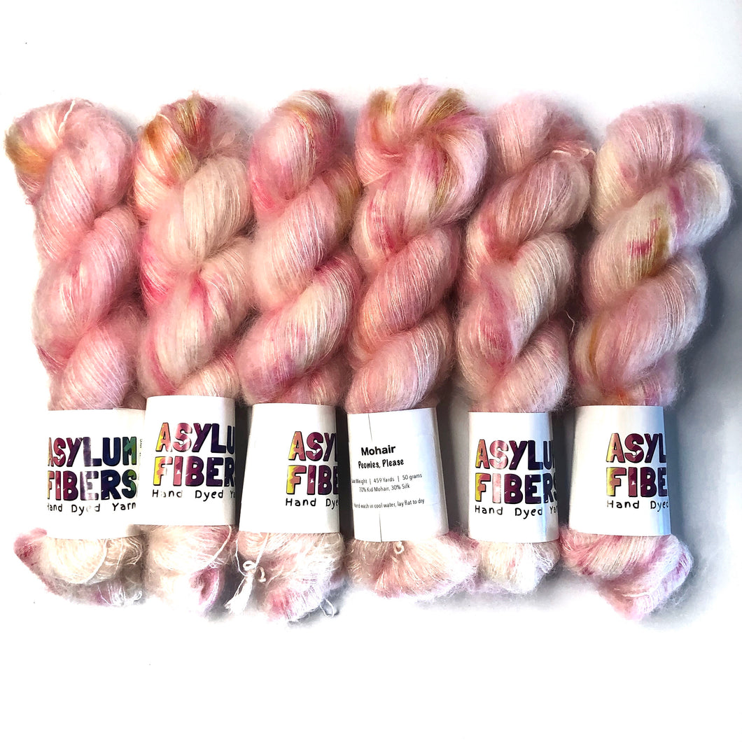 Peonies, Please on Mohair - Ready to Ship