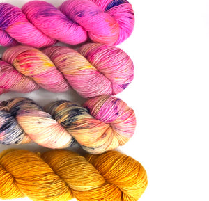 4 Skein Color Set - Endorphins, Flower Child, You Pansy, Trickery - Dyed to Order
