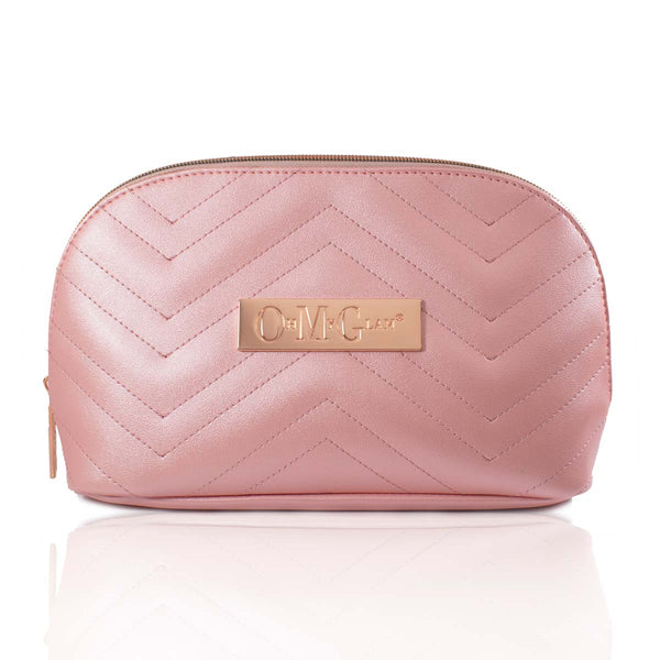 Pink Padded Soft Sheen Makeup Bag (Large)